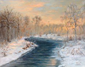 """Лесная речка"" холст, масло. Пейзаж. Сайт художника Елены Кацевал."