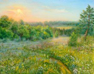 """""""Августовское утро"""" холст, масло. Пейзаж. Сайт художника Елены Кацевал."""