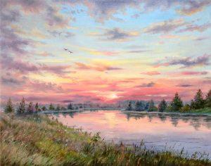 """Багровый закат"" холст, масло. Пейзаж. Сайт художника Елены Кацевал."