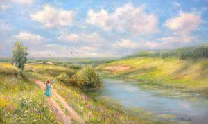 """""""Девочка"""" холст, масло. Пейзаж. Сайт художника Елены Кацевал."""