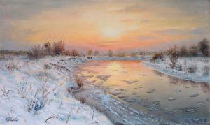 """Лёд тронулся"" холст, масло. Пейзаж. Сайт художника Елены Кацевал."