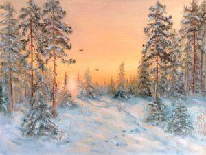 """На закате в лесу"" холст, масло. Пейзаж. Сайт художника Елены Кацевал."