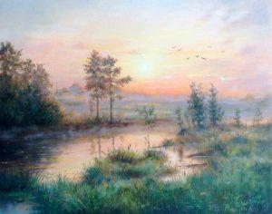 """""""На рассвете"""" холст, масло. Пейзаж. Сайт художника Елены Кацевал."""