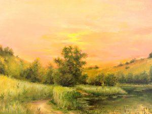 """""""На закате"""" холст, масло. Пейзаж. Сайт художника Елены Кацевал."""
