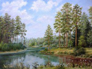 """""""Лесное озеро"""" холст, масло. Пейзаж. Сайт художника Елены Кацевал."""