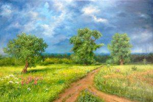 """""""Перед грозой"""" холст, масло. Пейзаж. Сайт художника Елены Кацевал."""
