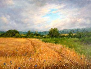 """""""Рожь и васильки"""" холст, масло. Пейзаж. Сайт художника Елены Кацевал."""