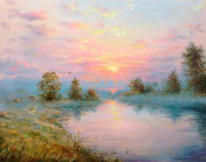 """""""Розовый вечер"""" холст, масло. Пейзаж. Сайт художника Елены Кацевал."""