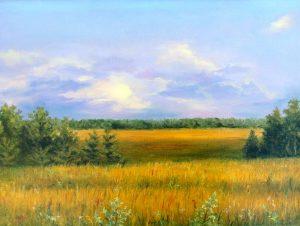 """Сиреневый закат"" холст, масло. Пейзаж. Сайт художника Елены Кацевал."