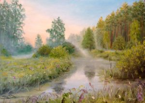 """Утро туманное"" холст, масло. Пейзаж. Сайт художника Елены Кацевал."