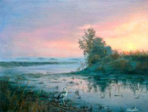 """""""В вечерней тишине"""" холст, масло. Пейзаж. Сайт художника Елены Кацевал."""