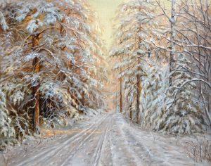 """""""В зимнем лесу"""" холст, масло. Пейзаж. Сайт художника Елены Кацевал."""
