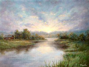 """Вечер на реке"" холст, масло. Пейзаж. Сайт художника Елены Кацевал."