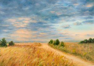 """""""Вечером перед грозой"""" холст, масло. Пейзаж. Сайт художника Елены Кацевал."""