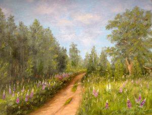 """Зацвели люпины"" холст, масло. Пейзаж. Сайт художника Елены Кацевал."