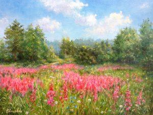 """Цветёт Иван-чай"" холст, масло. Пейзаж. Сайт художника Елены Кацевал."