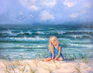 """""""Девочка и море"""" холст, масло. Морской пейзаж. Сайт художника Елены Кацевал."""