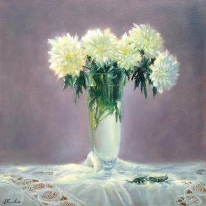 """Хризантемы"" холст, масло. Натюрморт. Сайт художника Елены Кацевал."