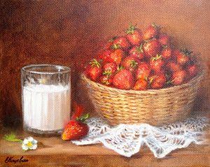 """Мандарин и свеча"" холст, масло. Натюрморт. Сайт художника Елены Кацевал."
