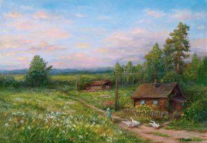 """""""Летом в деревне"""" холст, масло. Пастораль. Сайт художника Елены Кацевал."""