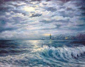 """""""Лунный пейзаж"""" холст, масло. Морской пейзаж. Сайт художника Елены Кацевал."""