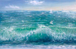 """""""Мелодия волны"""" холст, масло. Морской пейзаж. Сайт художника Елены Кацевал."""