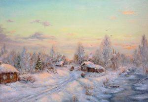 """""""Морозным вечером"""" холст, масло. Пастораль. Сайт художника Елены Кацевал."""