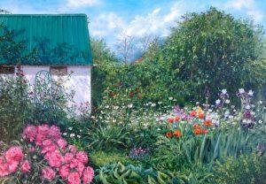 """""""Мой цветочный дворик"""" холст, масло. Пастораль. Сайт художника Елены Кацевал."""