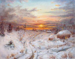 """""""На закате зимы"""" холст, масло. Пастораль. Сайт художника Елены Кацевал."""
