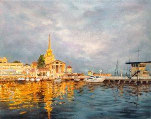 """""""Вечерний Сочи"""" холст, масло. Морской пейзаж. Сайт художника Елены Кацевал."""