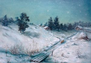 """""""Зимней морозной ночью"""" холст, масло. Пастораль. Сайт художника Елены Кацевал."""