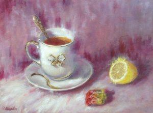 """Чайный натюрморт"" холст, масло. Натюрморт. Сайт художника Елены Кацевал."