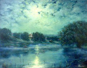 """Лунная ночь"" холст, масло. Пейзаж. Сайт художника Елены Кацевал."