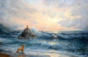 """""""Счастье"""" холст, масло. Морской пейзаж. Сайт художника Елены Кацевал."""
