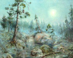 """""""Таинственный лес"""" холст, масло. Пейзаж. Сайт художника Елены Кацевал."""