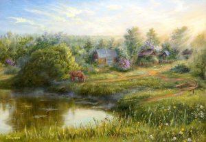 """""""Утро в деревне"""" холст, масло. Пастораль. Сайт художника Елены Кацевал."""