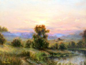 """""""Вечереет"""" холст, масло. Пейзаж. Сайт художника Елены Кацевал."""
