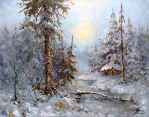 """Зимняя сказка"" холст, масло. Пейзаж. Сайт художника Елены Кацевал."